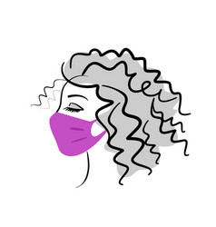 Face a beautiful girl in a medical mask vector