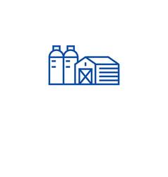 farm barn silo line icon concept farm barn vector image