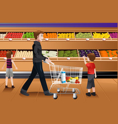 Father and his kids doing grocery shopping vector