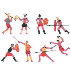fighting roman gladiators warlike armed greek vector image