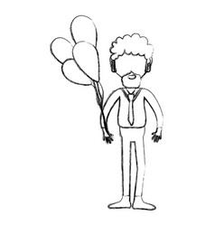 Figure man with beard and balloons in the hand vector