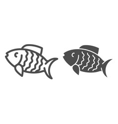 fish line and glyph icon animal vector image