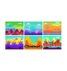 flat set of 6 colorful horizontal vector image
