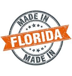 Florida orange grunge ribbon stamp on white vector image