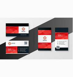geometric red theme company business card design vector image