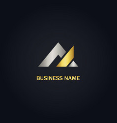 gold triangle business logo vector image