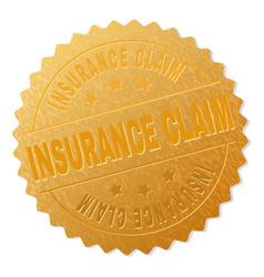Golden insurance claim award stamp vector