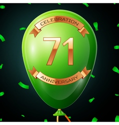 Green balloon with golden inscription seventy one vector