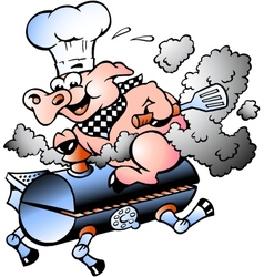 Hand-drawn an chef pig riding an bbq barrel vector