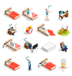 healthy sleep and disorders icons vector image