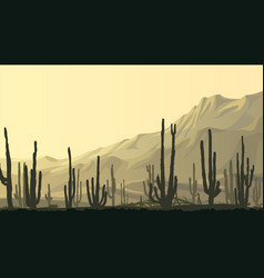Horizontal of prairie with cacti at sunset vector