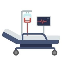 Hospital bed with medical equipments vector