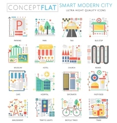 Infographics mini concept Smart modern city vector image