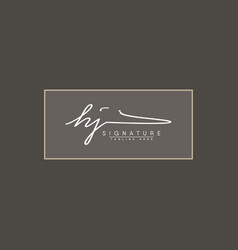 initial letter hj logo - handwritten signature vector image
