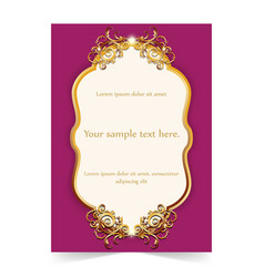 Invitation card wedding card with gold ornamental vector