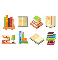 isometric books on shelf library literature set vector image