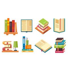 isometric books on shelf library literature set vector image