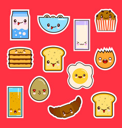 Kawaii breakfast food set cute faces emotion vector