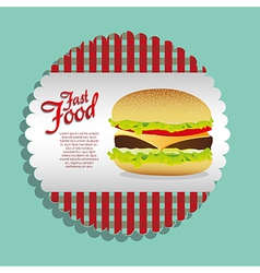 Label burger on a blue background vector
