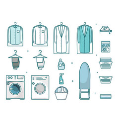 laundry thin line art icon set isolated vector image