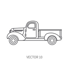 Line icon retro tourism pickup auto vector