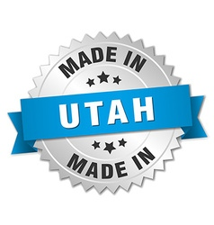 Made in utah silver badge with blue ribbon vector