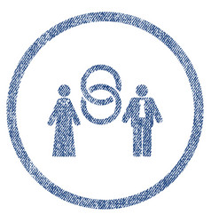 Marriage persons rounded fabric textured icon vector