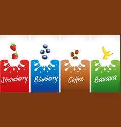Milk splash with strawberry blueberry coffee vector