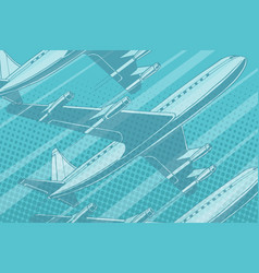 modern aircraft in sky travel background vector image