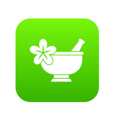 mortar and pestle pharmacy icon digital green vector image