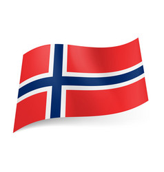 National flag of norway white bordered blue vector