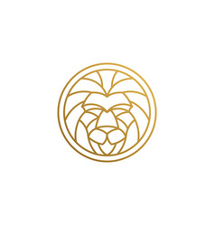 outline emblem geometric lion head in circle vector image