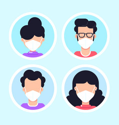 People wearing face mask set icons vector