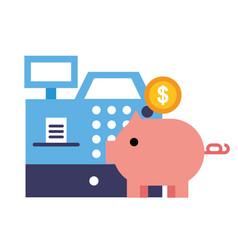 piggy bank cash register money online shopping vector image