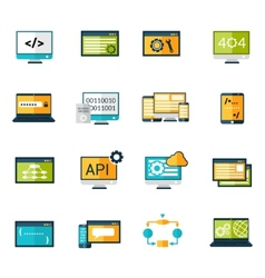 Programming icons set vector