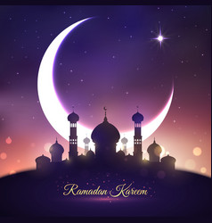 Ramadan kareem eid mubarak greeting card design vector
