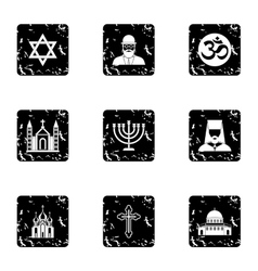 Religious faith icons set grunge style vector