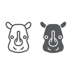 rhinoceros line and glyph icon animal and zoo vector image