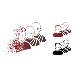 Sadly dissolved pixel halftone holy men icon vector