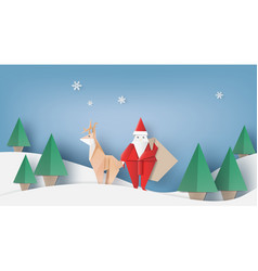santa clausre indeer and fir-tree for christmas vector image