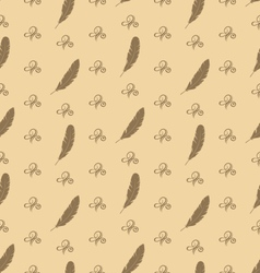 Seamless Pattern of Feathers with Ornament vector image