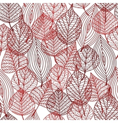 Seamless pattern of red autumnal leaves vector