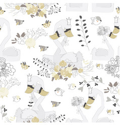seamless pattern with couple swans hugging in vector image