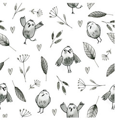Seamless pattern with hand drawn owls and flowers vector