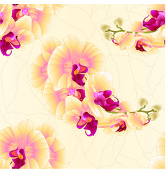 Seamless texture stem orchids yellow flowers vector