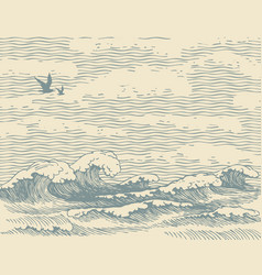 seascape with hand-drawn sea waves in retro style vector image