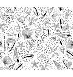 seashells seamless pattern black on white vector image