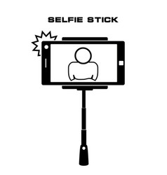 Selfie monopod stick symbol with smartphone with vector
