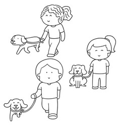 Set of people and dog vector