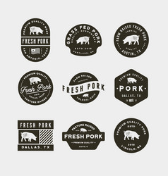 set of premium fresh pork labels vector image